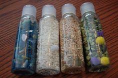 Plain Vanilla Mom: Sensory Bottles for Little Ones...these bottles are small enough for easy travel