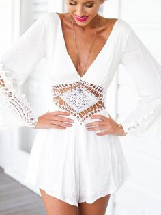 Overview: Crochet White Backless Playsuit is sexy preppy casual and perfect for a day of shopping wearing on the weekend or out to the beach! Details: chiffon Size: Small - Shoulder 39cm, Bust 82cm, W