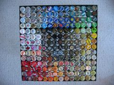 Beer cap table...what to do after Holly gets all she needs from my new cap source...love the rainbow effect!