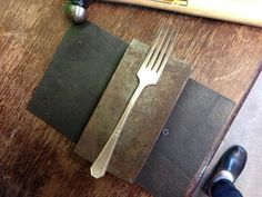 Find an old fork. A bit of ornament is nice, but not necessary. Mine has a heavily worn silver plate that works with this rustic up-cycling.