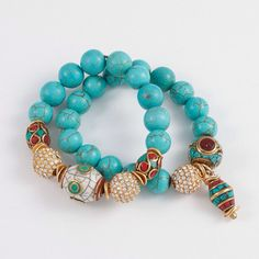 Turquoise Beaded Bracelet with Tibetan by addieandisaacjewelry
