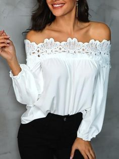 Shop Blouses & Shirts Crochet Lace Splicing Off Shoulder Casual Blouse Trend Fashion, Look Fashion, Fashion Ideas, Womens Fashion, Blouse Styles, Blouse Designs, Off Shoulder Outfits, Chic Outfits, Fashion Outfits