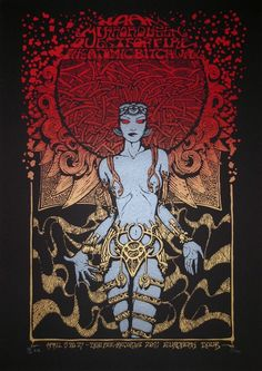 Handmade silkscreen 2 colors on heavy black paper TEE PEE Art And Illustration, Illustrations, Stoner Rock, Tour Posters, Band Posters, Fantasy Kunst, Fantasy Art, Art Hippie, Maleficarum