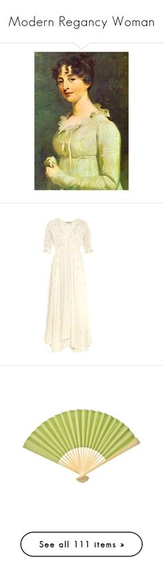 """""""Modern Regancy Woman"""" by fashioniswhatyoulove ❤ liked on Polyvore featuring jane austen, dresses, ivory multi, cream polka dot dress, shirred dress, white embroidered dress, white ruched dress, ivory dress, home and home decor"""