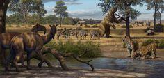 Tigres-dentes-de-sabre, macrauquênias, cavalos extintos (Hippidion), mastodontes, um gliptodonte e uma preguiça-gigante (Megatherium) em um cenário que poderia ser o interior do Rio Grande do Sul ou Santa Catarina. Ilustração: Mauricio Antón.