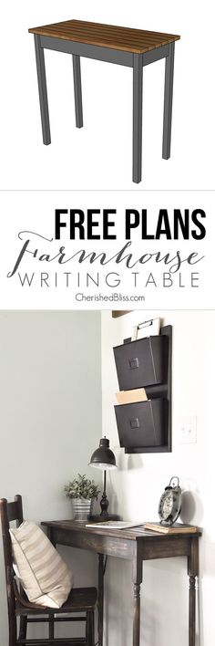 Get the free plans for this easy to build Farmhouse Writing Table!