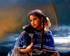 """""""Rainbow Sky""""Private x -Western and Native American Fine Art by Karen Noles Native American Children, Native American Tribes, Native Americans, American Symbols, Native American Paintings, American Artists, Native Indian, Native Art, Indian Pictures"""