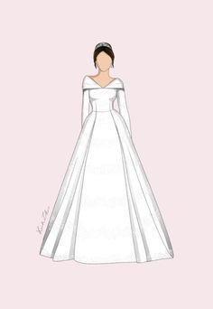 The very talented Leah Zhao's royal wedding dresses drawing updated with Princ. Chiffon Wedding Gowns, Wedding Dresses Plus Size, Royal Brides, Royal Weddings, Wedding Dress Drawings, Eugenie Wedding, Princesa Kate Middleton, Next Dresses, Princess Drawings