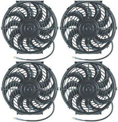 "Quad 14"" Inch Electric Fans 4-Pack 12V Automotive Condensor Cooling Fan Engine"