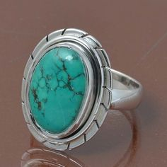 TURQUOISE 925 STERLING SILVER RING JEWELRY 5.91g DJR7042 SIZE 7 #Handmade #Ring