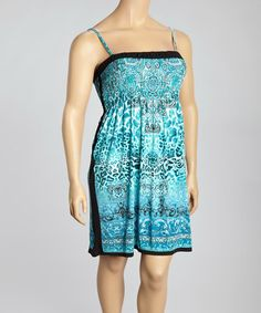Another great find on #zulily! Sea Green & Black Status Print Sleeveless Dress - Plus #zulilyfinds
