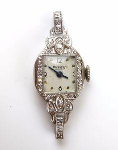 Vintage 14k White Gold & Diamond Ladies Bulova Watch Head, Running! #Bulova #LuxuryDressStyles