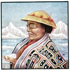 A Tlingit chief. The Tlingit are Northwest Pacific Coast people who live primarily from the sea, hunting seals, whales, porpoises and otters. Note the ingenious protection worn against snow-glare blindness. From Indians of America, USA, 1935. This little picture book describes 74 Indian tribes from Apaches to Zuni. The tone is sympathetic and respectful - the indigenes have been conquered, now they can be admired. Learyworks.com collection.