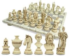 Greek chess set and board, Sculpture & Statues