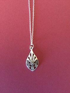 Marcasite - Marcasite Pendant - Marcasite Necklace - Marcasite Jewelry - Filigree - Silver Tone Filigree and Marcasite Tear Drop Necklace