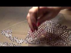 Вышивка бисером , люневильская вышивка свадебного платья - YouTube