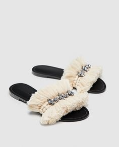 Shop Women's Zara Black Cream size 9 Sandals at a discounted price at Poshmark. ZARA Embellished Fringe Slides size 9 (EUR Sold by thesharedhanger. Shoes Flats Sandals, Zara Sandals, Wide Fit Shoes, Striped Flats, Womens Summer Shoes, Loafer Mules, Crochet Shoes, Kinds Of Shoes, Fashion Heels