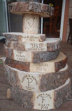 Rustic Cake Stand  Engraved Tree Stands Great Wedding Id cakepins.com