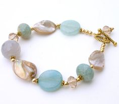 Aqua+Gemstone+Bracelet+by+InspiredTheory+on+Etsy