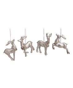Love this Silver Glitter Deer Ornament - Set of Four by Transpac Imports on #zulily! #zulilyfinds