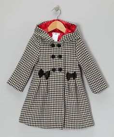 Black & White Houndstooth Hooded Swing Coat - Infant, Toddler & Girls | Daily deals for moms, babies and kids