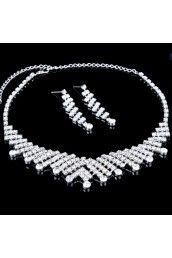 Gorgeous Alloy with Rhinestones Wedding Jewelry Set, Including Earrings and NecklaceIncluding Earrings and Necklace