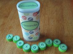 Make your own name puzzles. $ on tpt but looks easy enough to make - save crystal light containers and water bottle tops