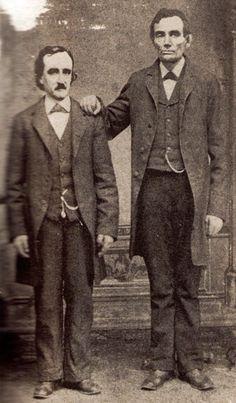 JOJO POST FATHER: Edgar Allan Poe poses with Abraham Lincoln in Mathew Brady's Washington, D.C. studio.February 4th, 1849