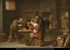 This painting is titled 'A Tavern Interior With Peasants Drinking, Smoking And Gambling' and was painted by David The Younger Teniers.