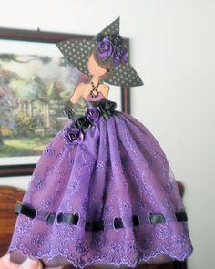 Handmade Scrapbook Hocus Pocus Halloween Witch Paper Doll PaperPiecing by Becky #HandmadeShabbyCottage