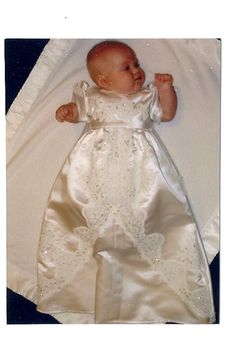 One of two Christening gowns made from wedding dress train.