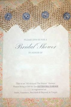 Chronicles of a Frugal Gardener: Inexpensive and unique bridal shower invitations