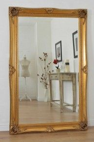 Large Gold Antique Style Wood Wall Mounted Mirror Rectangle 5Ft10 X 3Ft10 £309.99