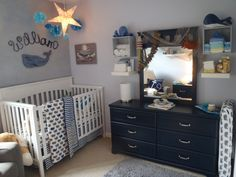 Williams whale nursery project nursery and nursery with regard to white nursery dresser for baby boy Whale Themed Nursery, Baby Nursery Themes, Nautical Nursery, Baby Decor, Nursery Room, Nursery Decor, Nursery Ideas, Nautical Names, Navy Nursery