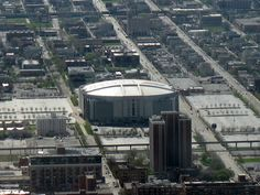 An aerial shot of the United Center.