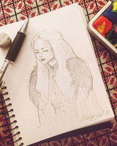 "Pauliina Lampi (@pauliina_lampi) on Instagram: ""Lazy sketch of Sansa, because tomorrow it starts again.  . . #sketch #drawing #artwork…"""