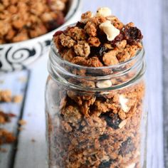 Maple sweetened granola with cranberries and white chocolate is a sweet treat anytime of the day!