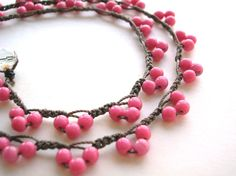 Pink crochet necklace Bohemian Lace beaded by 3DivasStudio