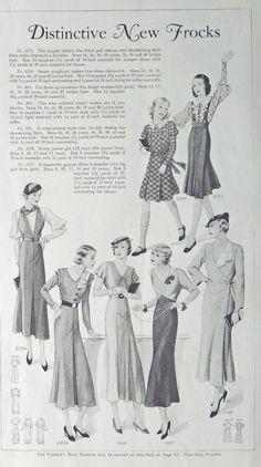 Fashion Page  30 s Illustration  Distinctive New Frocks  1933 the Farmer s Wife Magazine