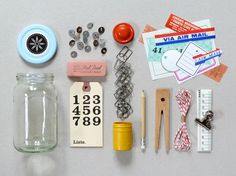 Office in a Jar by presentandcorrect on Etsy, $25.00 (For once, totes adorbs applies un-ironically!)