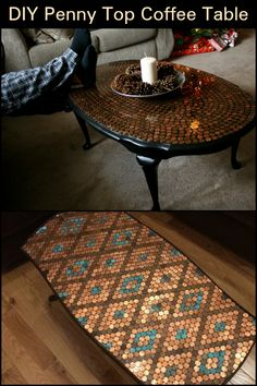 Furniture Do You Have an Old Side Table That Has Seen Better Days? Here's a Fun Way to Revive it! Easy Diy Projects, Home Projects, Penny Table Tops, Bottle Cap Table, Bottle Caps, Old Coffee Tables, Table Furniture, Furniture Redo, Furniture Ideas