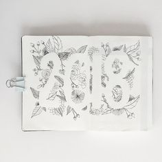 Bullet journal yearly cover page, flower drawings, floral drawings. @bujoani