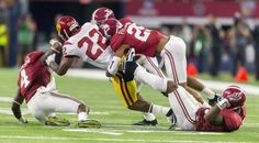 Alabama defensive back Minkah Fitzpatrick (29) takes down USC running back Justin Davis (22) during during the first half of Alabama's football game with Southern Cal, Saturday, Sept. 3, 2016, at AT&T Stadium in Arlington, Texas. Vasha Hunt/vhunt@al.com