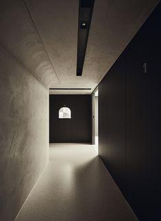 Gym Center, Corridor Design, House Ceiling Design, Space Interiors, Architectural Elements, Wabi Sabi, Terrazzo, Wall Lights, Architecture Design