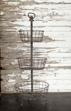 """The Isabel Farmhouse Basket is a rustically beautiful three tier metal farmhouse basket. We are forever on the hunt for baskets....especially the special kind that have a million gorgeous uses! This three-tiered-treasure sure fits the bill!  Farmhouse Basket measures14"""" x 35"""""""