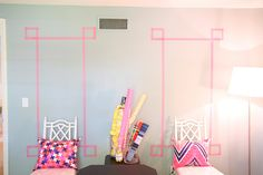 decorating with washi tape.. perfect for dorms because it peels off easily!