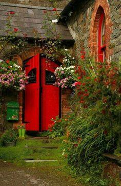 Kinsale, County Cork Beautiful red door Ireland  Trellis