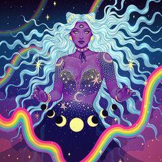 ♥ Celestial ♥ Artwork by Jen Bartel ( Art Inspo, Kunst Inspo, Inspiration Art, Arte Dope, Dope Art, Art And Illustration, Fantasy Kunst, Fantasy Art, Dope Kunst