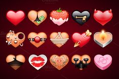 Check out Set of Vector Sex Hearts Icons by Voysla's Shop on Creative Market