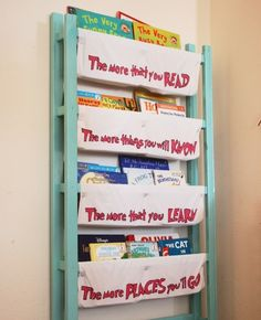 diy home sweet home: Repurposed Crib into Book Storage-Dr Seuss Old Baby Cribs, Old Cribs, Book Storage, Diy Storage, Storage Ideas, Playroom Storage, Storage Hacks, Repurposed Furniture, Diy Furniture